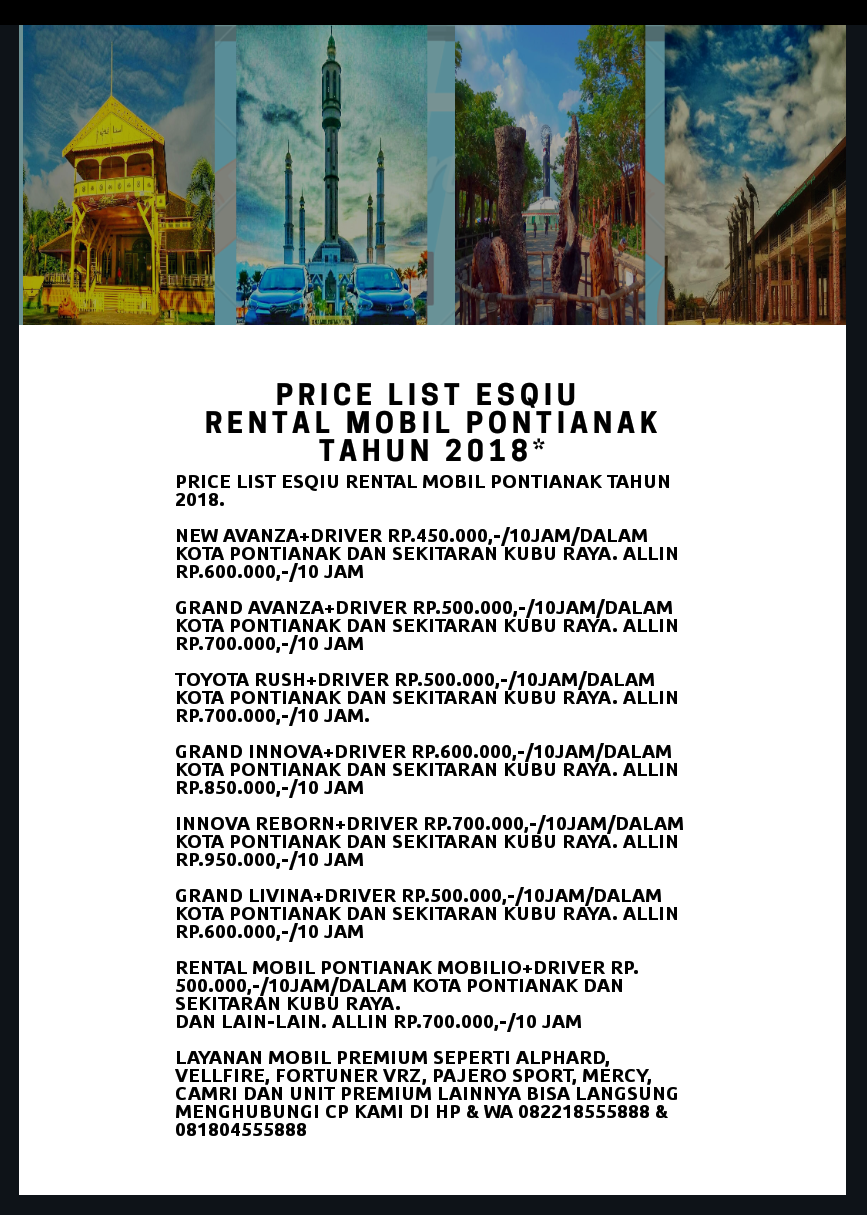 Price List Rental Mobil Pontianak eSQiu 082218555888
